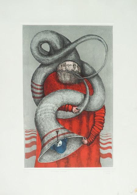 Fernando Pereznieto litografía surrealista monje rojo musica