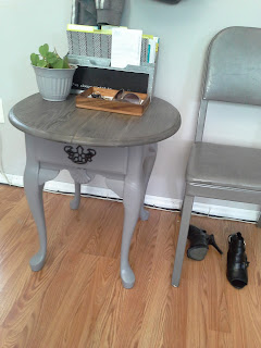 weathered grey wood top side table