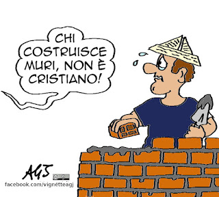 Muri, papa francesco, donald trump, migranti, vignetta satira
