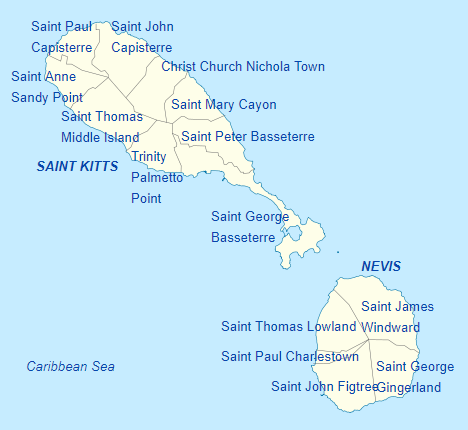 Pembagian wilayah administratif Saint Kitts and Nevis