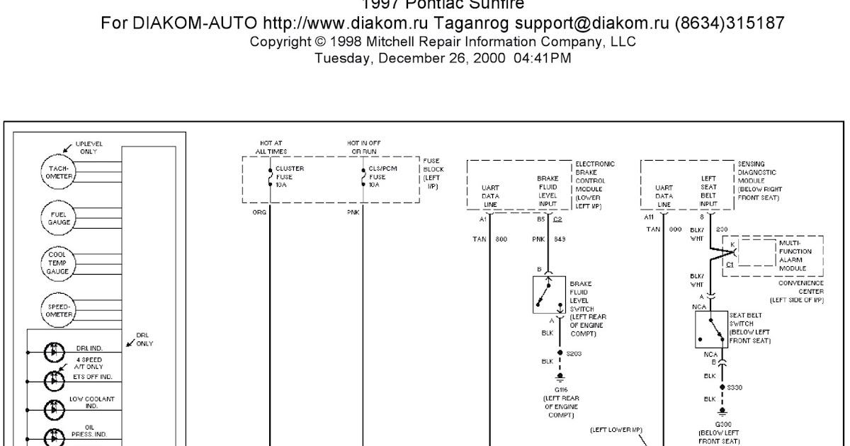 1997 Pontiac Sunfire System Wiring Diagrams Instrument