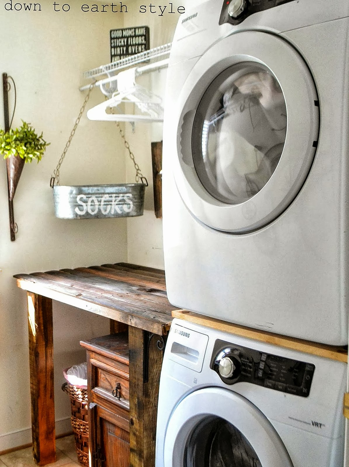 Reclaimed Wood Laundry Room Folding Table Down To Earth Style