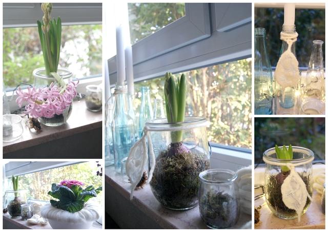 Fensterbank frühlingshaft dekoriert