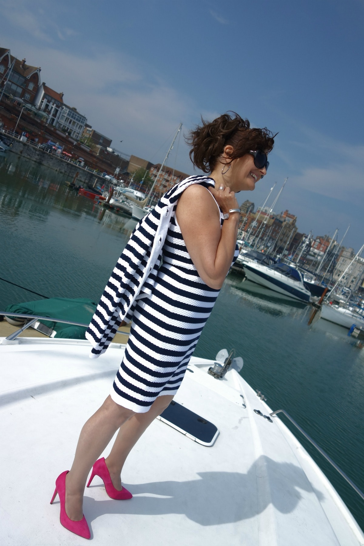 Michelle, Barefaced Chic wears Winser London