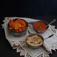 Chips de batata doce e mezes