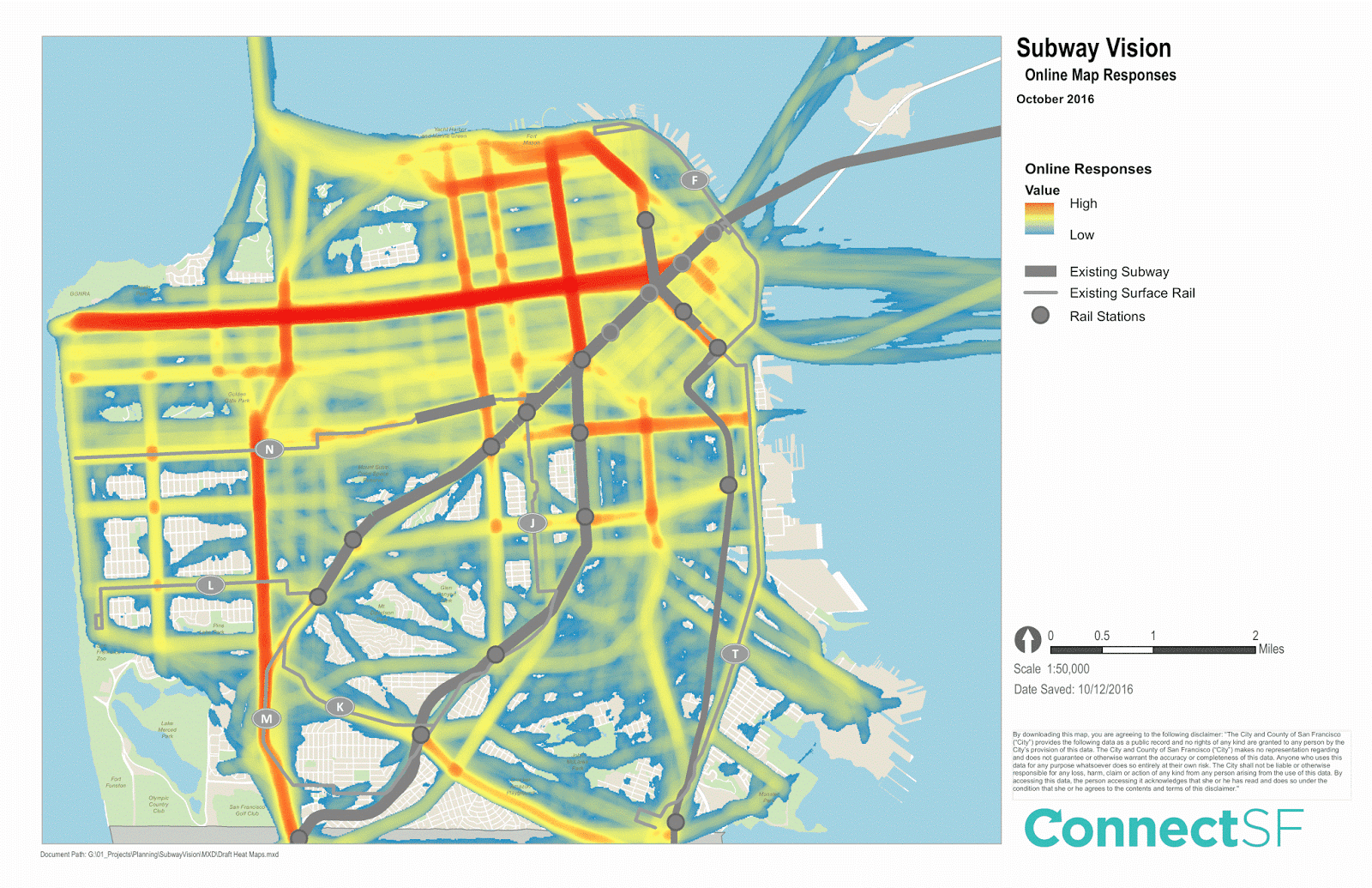 Heat map of 2,600 online responses from an online tool asking people to draw where they think new subway lines should be built in San Francisco