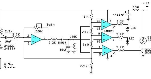 audio decibel level meter circuit schematic diagram