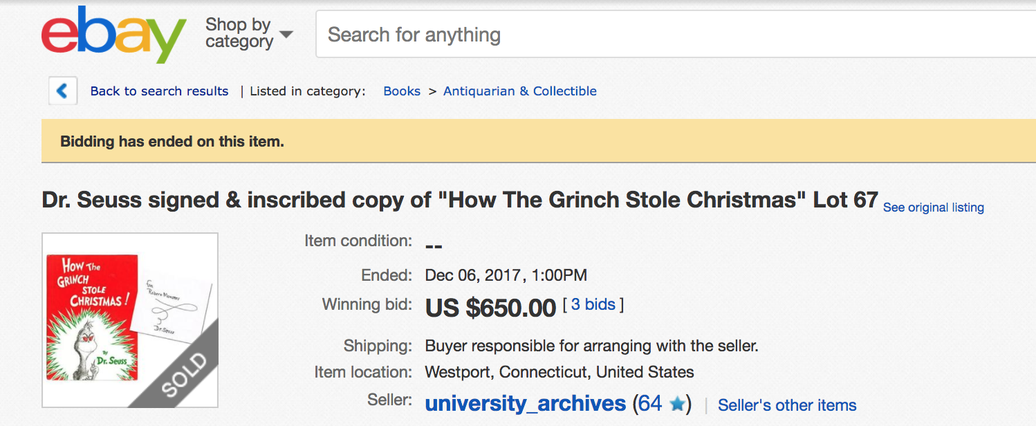 Attempted Bloggery: Dr. Seuss: A Signed Grinch