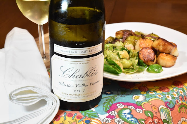 Francine et Olivier Savary Chablis Vieilles Vignes with Scallops and Brussels Sprouts 2 ways.