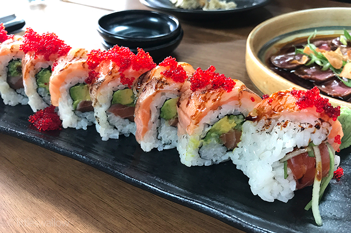 Zushi, Barangaroo: Ocean roll - salmon, cucumber, avocado, flying fish roe, 18 seared salmon belly, sweet soy + honey mayo