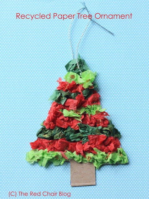 Recycled tissue paper Christmas tree ornament craft for kids