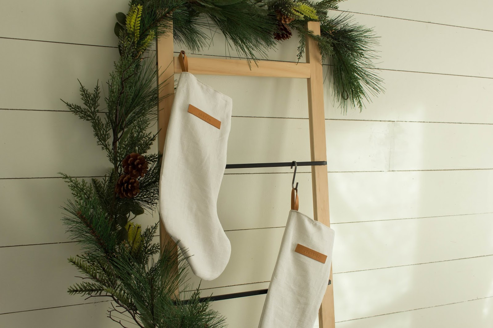 Christmas Stockings Diy.Always Rooney Simple Linen Leather Christmas Stocking Diy