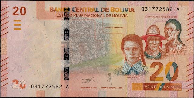 Bolivian Currency 20 Bolivianos banknote 2018 National Heroes - Genoveva Ríos, Tomás Katari and Pedro Ignacio Muiba