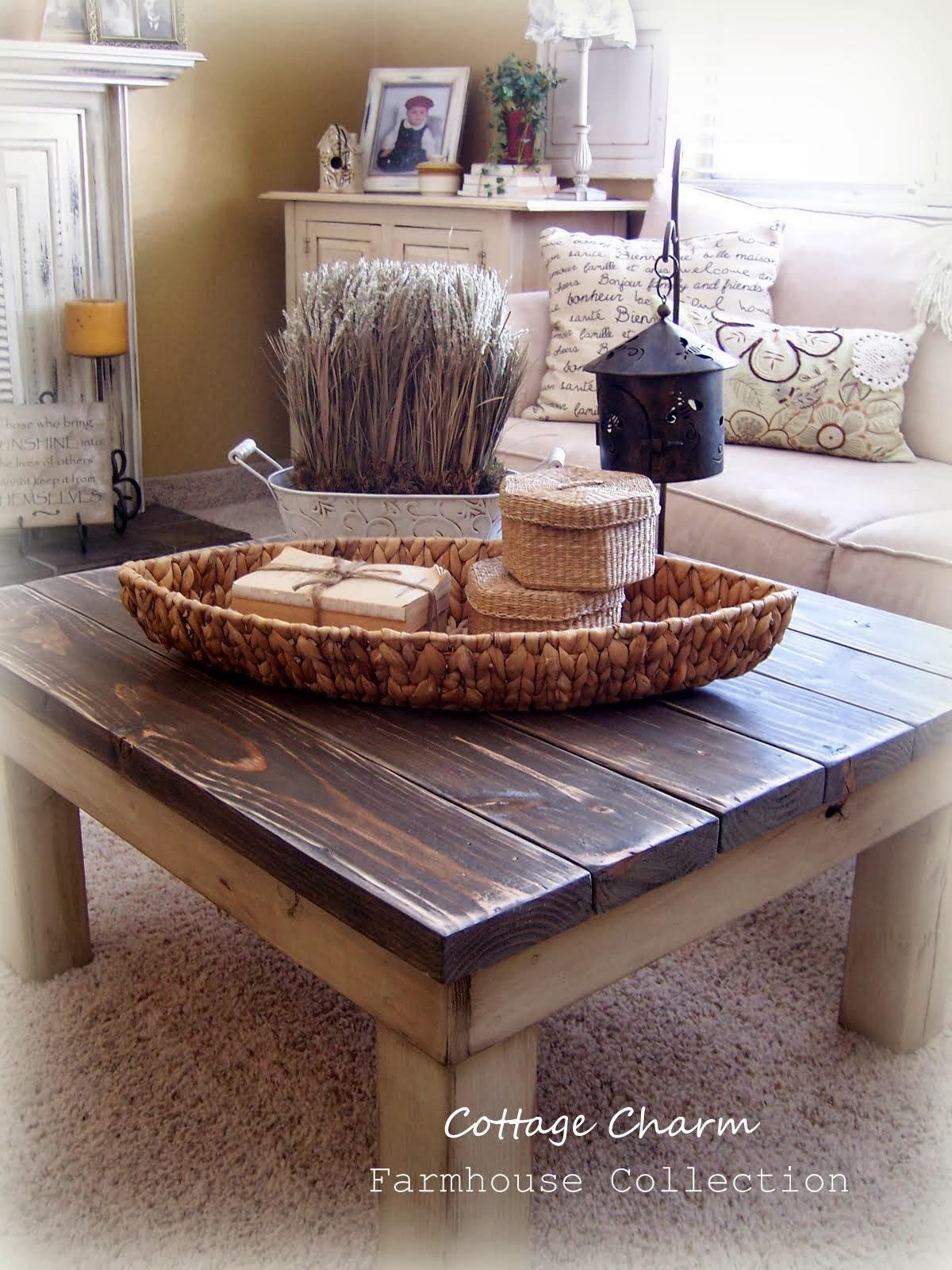 cottage charm farmhouse collection chunky coffee table