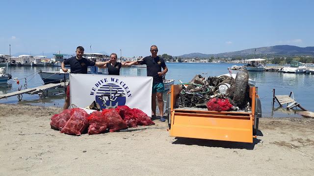 300 κιλά απορρίμματα ανέσυραν από το Πεζονήσι Ερέτριας εθελοντές δύτες