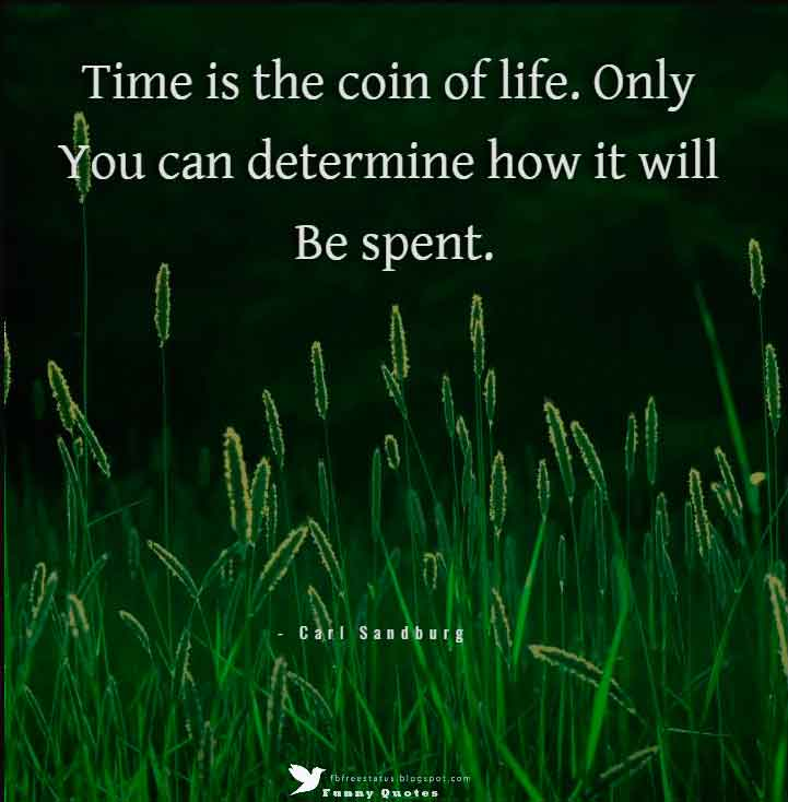 """Time is the coin of life. Only you can determine how it will be spent.""  — Carl Sandburg"