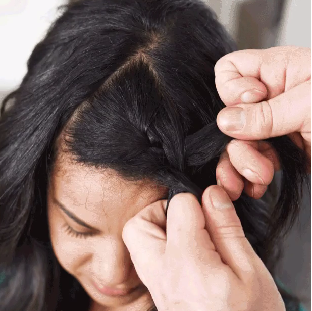 Keep Your fingers as close to your roots and hairline as possible while braiding