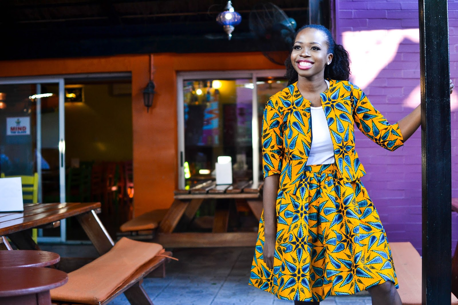 Yellow Ankara Two Piece on an African Fashion Blogger
