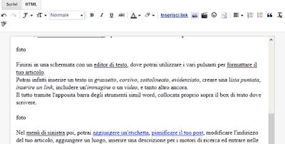 editor di testo blogger