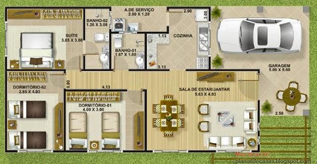 Plano de casa moderna de 111 m2 planos de casas gratis y for Casa moderna 140 m2