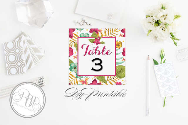 tropical watercolour table number pink hibiscus-island wedding-by rbh designer concepts