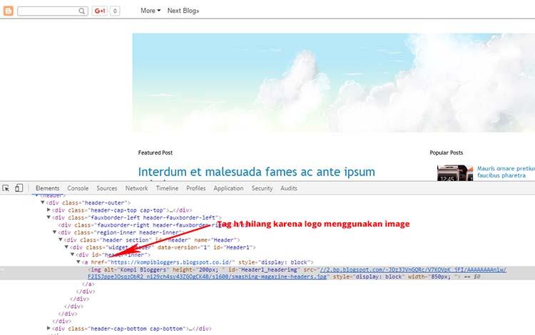 Tag H1 Hilang Ketika Menggunakan Image Untuk Header Blog