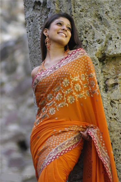 Nayanthara Hot Photos In Orange Saree