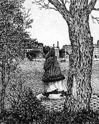 Bir kara kalem şehir meydanı çiziminde oluşan gizli adam yüzü