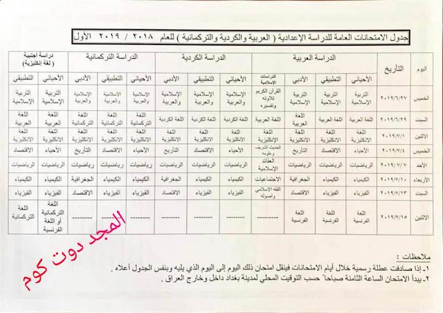 جدول الامتحانات الوزارية السادس الادبي