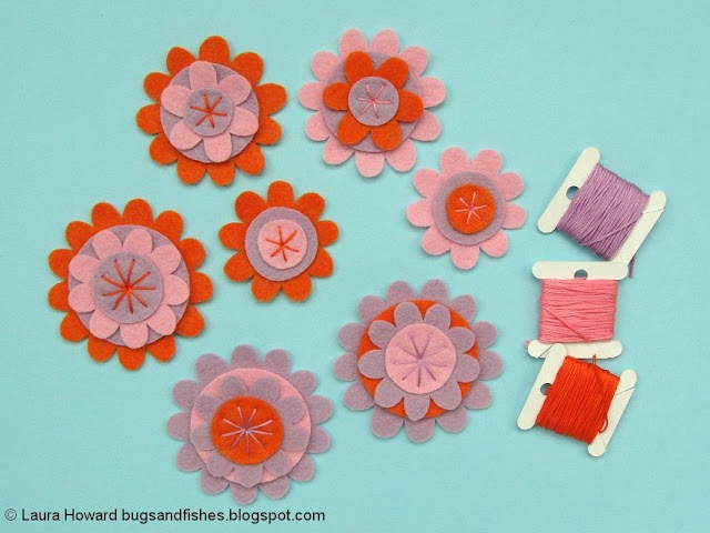 embroider the felt flowers