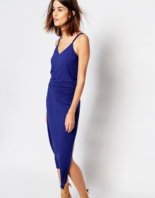warehouse blue strappy dress, blue v neck strappy dress,