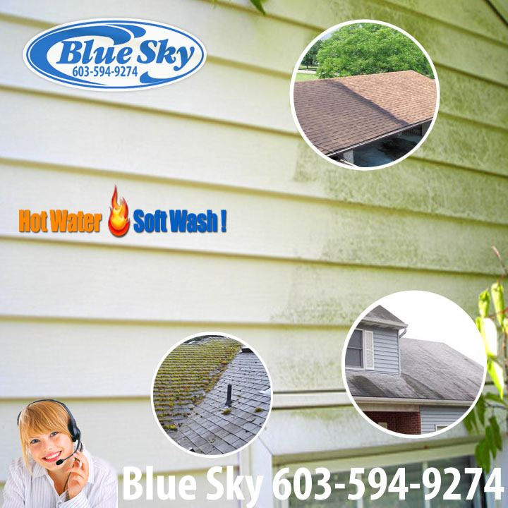 Mold & Mildew + Moss from Vinyl Siding with Blue Sky