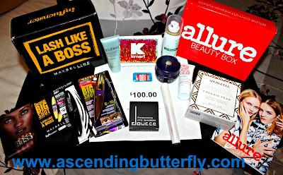 Influenster #BigShotMascara Vox Box, Allure Beauty Box, Kmart, Restonic, Target, Elemis, Maybelline, Briogeo, Spongelle, Tatcha, Klorane, Mally Cosmetics