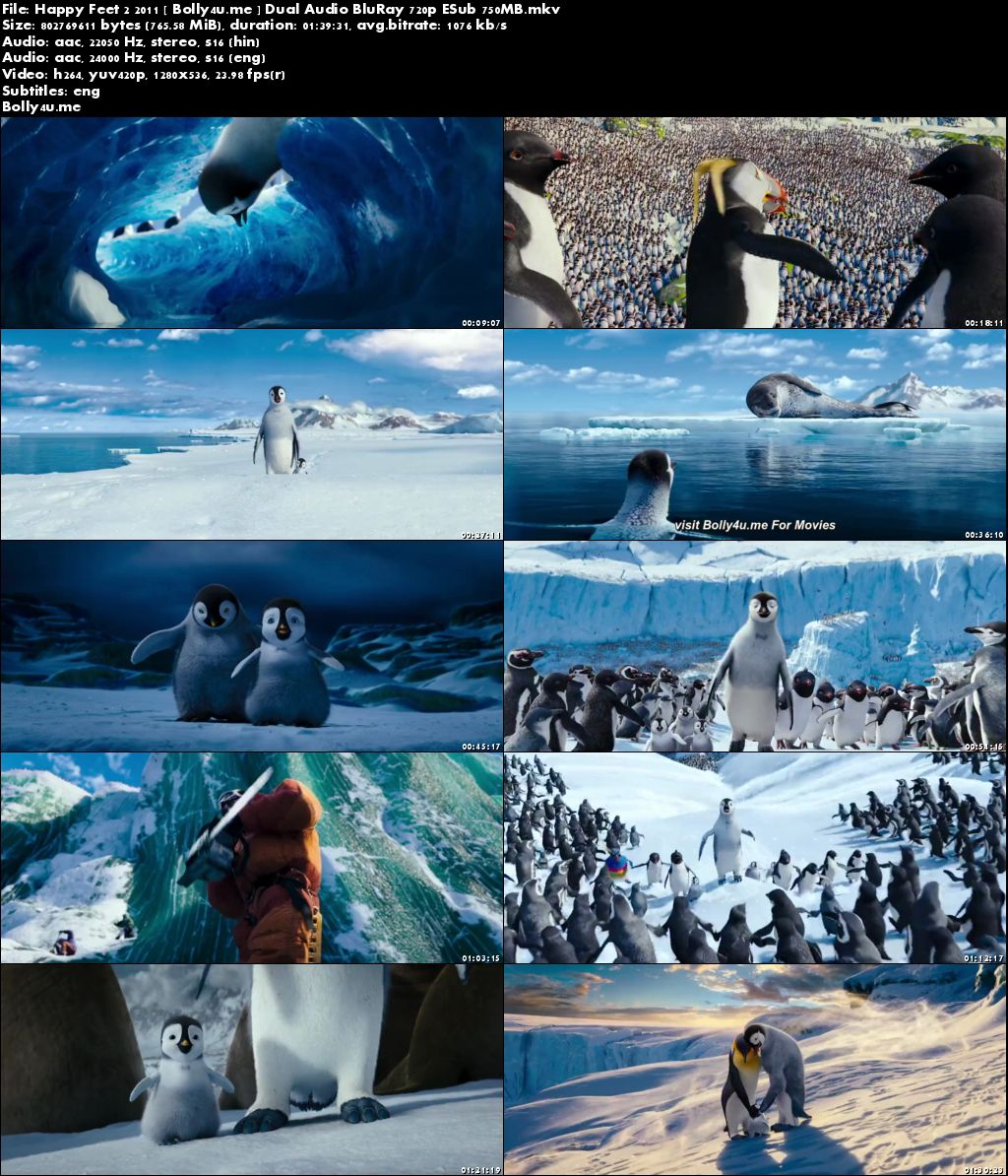 Happy Feet Two 2011 BRRip 300MB Hindi Dual Audio 480p ESub Download