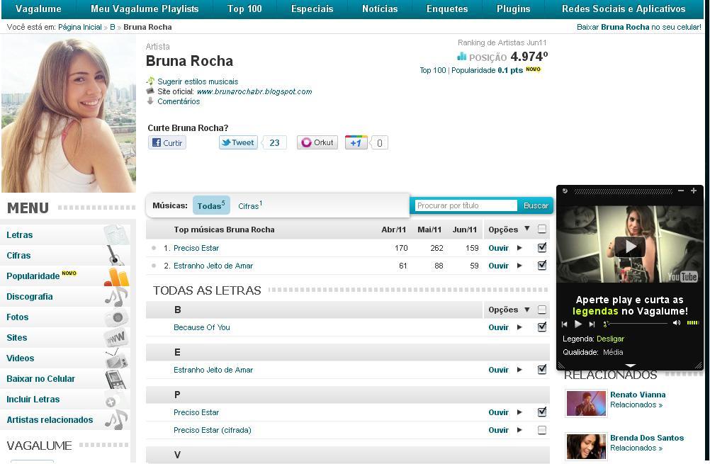 ab98b09b191 ... 100 Artistas Nacionais ou Top 100 Musicas e isso ajudara muito a  divulgar a Bruna Rocha.Para visitar a pagina da Bruna Rocha no Vagalume  clique aqui.