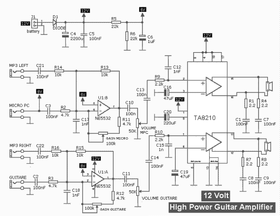 electronic circuit diagram electro schematic 30w guitar. Black Bedroom Furniture Sets. Home Design Ideas