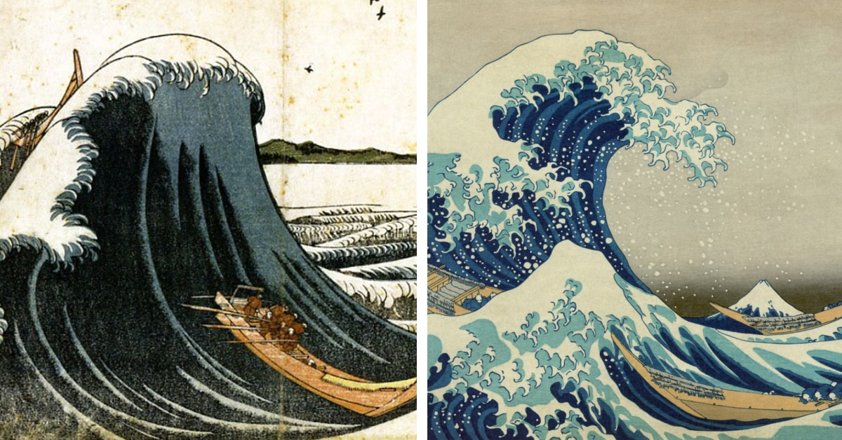 Older Versions Of Hokusai's 'Great Wave' Depict Its Incredible Evolution Over Time