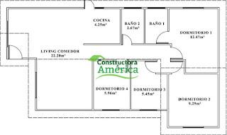 plano casas america prefabricada 72mtrs cuadrados