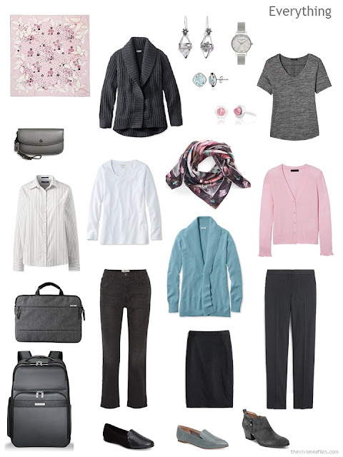 a three by three business travel capsule wardrobe in charcoal grey, white, soft teal and pink
