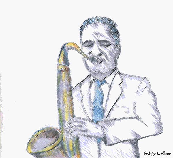 Músico de jazz tocando el saxo. Ilustración de Rodrigo L. Alonso