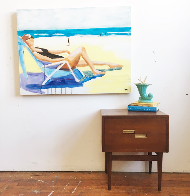 contemporary beach painting, figurative art, midcentury modern side table
