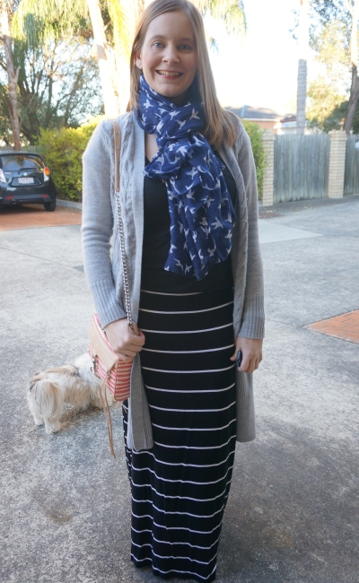 Winter maxi skirt outfit bird print scarf stripes grey cardi | Away From The Blue