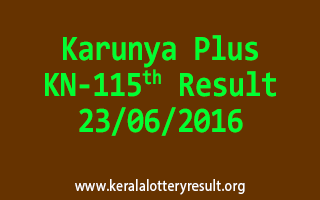 Karunya Plus Lottery KN 115 Results 23-6-2016