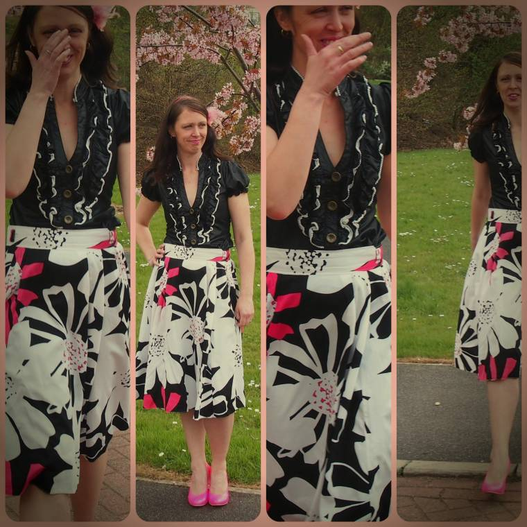 Flowered Skirt And Neon Pink Shoes Lots Of Laughter