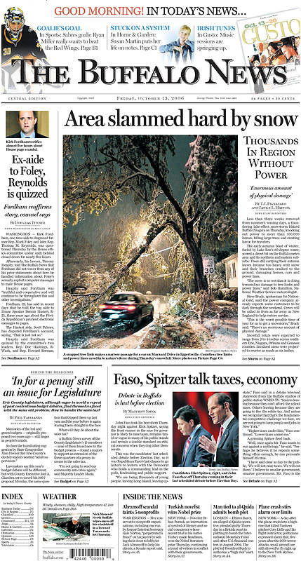Front Page of Buffalo News October Storm 2006