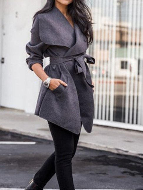 Lapel Belt Plain Trench Coats --Regular price $104.49 USD ---$34.83 USD Sale