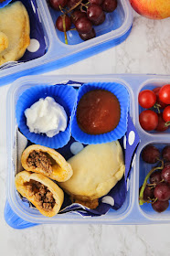These tiny and delicious cheesy taco pockets are perfect for school lunches, and so easy to make!
