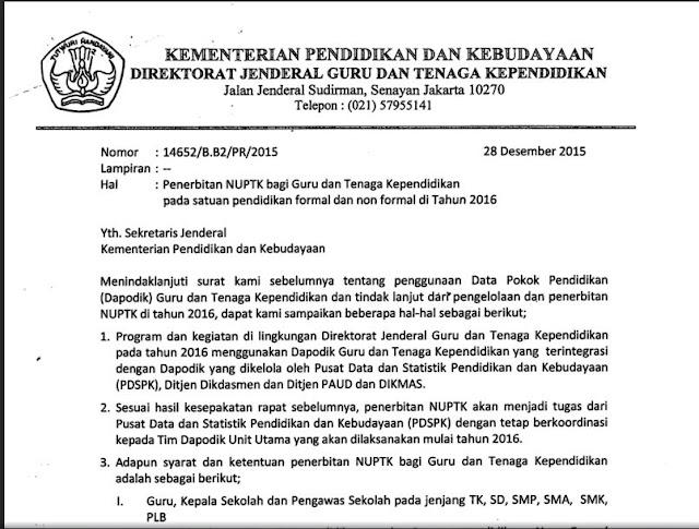 Surat Edaran Pembuatan NUPTK Baru 2017