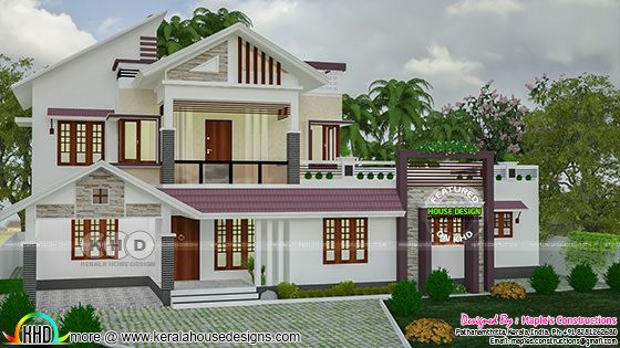 2359 square feet 4 bedroom mix roof house