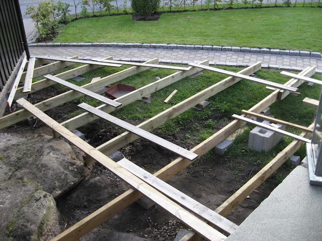 Bygge terrasse - tips. Starten på fundamenetet av terrassen. Furulunden